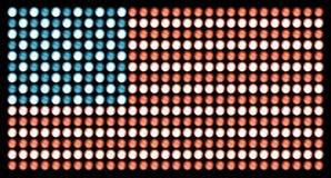 Amerikanska flaggan i ledde ljus på evig sanningsvart Royaltyfri Fotografi