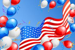 Amerikanska flaggan med ballongen Arkivbilder