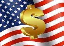 Amerikanska flaggan med dollartecknet Arkivbild