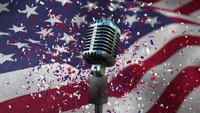 Amerikanska flaggan med konfettier och mikrofonen