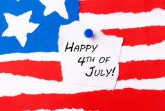 Amerikanska flaggan med lyckligt 4th Juli Fotografering för Bildbyråer