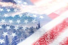 Amerikanska flaggan med vinterbakgrund Royaltyfria Bilder
