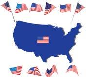 Amerikanska flaggan och design USA och översikt royaltyfri illustrationer