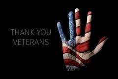 Amerikanska flaggan och text tackar dig veteran fotografering för bildbyråer