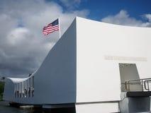 Amerikanska flaggan på Arizona den minnes- pärlemorfärg hamnen Royaltyfri Foto