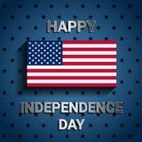 Amerikanska flaggan på blå bakgrund för självständighetsdagen av USA Arkivfoto