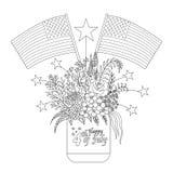 Amerikanska flaggan på blommor och garneringar på en murarekrus för designbeståndsdel och sida för färgläggningbok också vektor f royaltyfri illustrationer