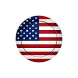 Amerikanska flaggan på den runda knappen, vektorillustration Royaltyfri Foto
