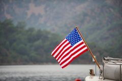 Amerikanska flaggan på fartyget Fotografering för Bildbyråer