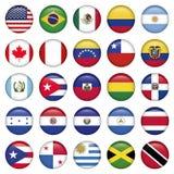 Amerikanska flaggan rundar symboler vektor illustrationer