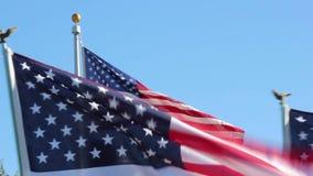 Amerikanska flaggan som avfärdar på veterandag lager videofilmer