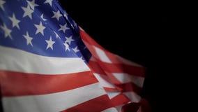 Amerikanska flaggan som bl?ser i vinden, ultrarapid lager videofilmer