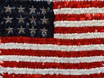 Amerikanska flaggan som broderas med paljetter arkivfoton