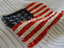 Amerikanska flaggan som broderas med paljetter royaltyfri fotografi