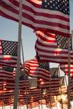 Amerikanska flaggan som vinkar på solnedgången Royaltyfri Foto