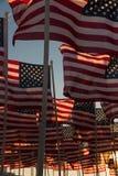 Amerikanska flaggan som vinkar på solnedgången Arkivfoton