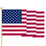 Amerikanska flaggan vinkande USA flagga med skarpa hörn Enkel isolerad vektorillustration Nationellt symbol av Förenta staterna royaltyfri illustrationer