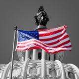 Amerikanska flaggan vinkar i fron av Kapitoliumbyggnaden i Washi Royaltyfri Foto