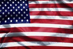 Amerikanska flagganbakgrund Closeup av den rufsade amerikanska flaggan Royaltyfri Foto
