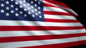 Amerikanska flagganbakgrund som blåser i vinden sömlösa kretsa Luma Matte 4K stock video