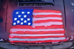 Amerikanska flagganbilgrafitti Arkivfoto