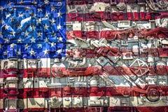 Amerikanska flaggancollage, järnverk som bygger, Beloit, WI Royaltyfri Fotografi