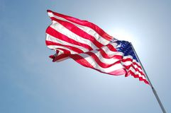 amerikanska flagganflapping Royaltyfria Bilder