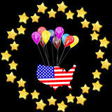 Amerikanska flagganflyg royaltyfri illustrationer