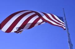Amerikanska flagganflyg på den halva personalen eller den halva masten Royaltyfri Bild