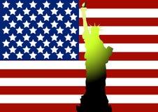 amerikanska flagganfrihetstaty royaltyfri bild