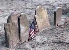 amerikanska flaggangravestones Arkivfoton