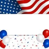 Amerikanska flagganhälsningkort Arkivbild