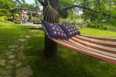 Amerikanska flagganhängmatta Arkivfoton