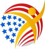 Amerikanska flagganjordklotman stock illustrationer
