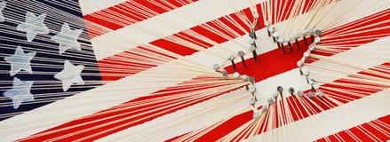 Amerikanska flagganradkonst royaltyfri bild