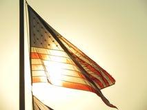 amerikanska flaggansolnedgång Arkivbilder