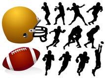 amerikanska fotbollsilhouettes Royaltyfria Bilder