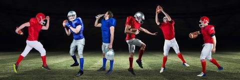 amerikanska fotbollsspelare som är breda på fält Royaltyfri Bild