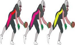 Amerikanska fotbollsspelare, vektorpacken som är olik poserar uppsättningen - avbildar vectorielles royaltyfri illustrationer