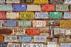Amerikanska historiska bilregistreringsskyltar Arkivfoton