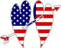 amerikanska hjärtor royaltyfri illustrationer