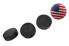 Amerikanska hockeypuckar Royaltyfria Foton