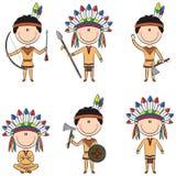 Amerikanska infödda dräktpojkar Royaltyfri Foto