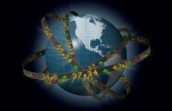 amerikanska jordklotmarknader som orbiting materieltickers stock illustrationer