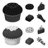 Amerikanska kakor, ett stycke av kakan, godis, råntubule Symboler för samling för chokladefterrätter fastställda i svart, monochr Fotografering för Bildbyråer