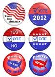 amerikanska knappar delta i en kampanj politiskt arkivbild