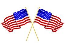 amerikanska korsade flaggor Royaltyfri Bild