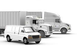 Amerikanska lastbilar Internationellt trans Arkivfoto