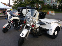 Amerikanska polisfordon, motorcyklar, Hummer, Rutherford, NJ, USA Royaltyfri Bild