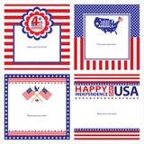 Amerikanska uppsättningar för självständighetsdagenmallkort Royaltyfri Foto